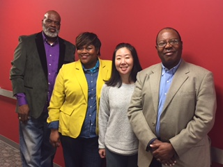 (from left to right): Pastor Johnny Smith, Community PI; Dr. Tiffany Haynes, Academic PI; Dr. Karen K. Yeary, PhD, Academic Co-PI; and Pastor Jerome Turner, Community PI.